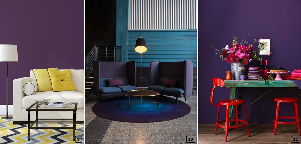 Purple associated with yellow, blue and red colors in interiors