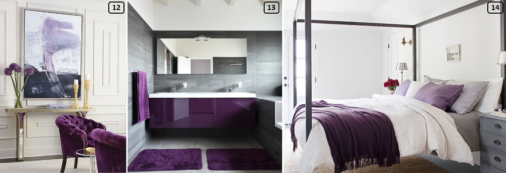 Purple color combined with clear and neutral tints in interiors