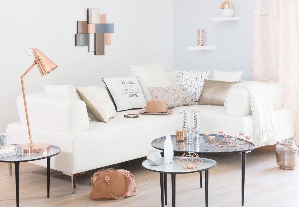 Scandinavian living room with copper accessories