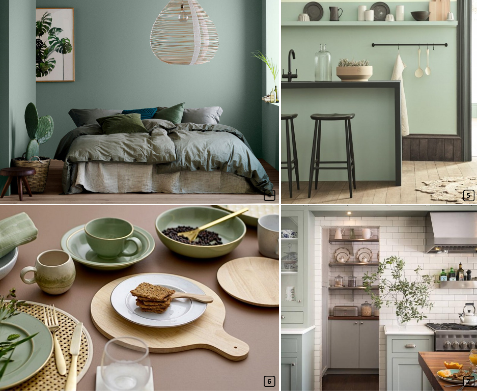 Sage green colour in home decor