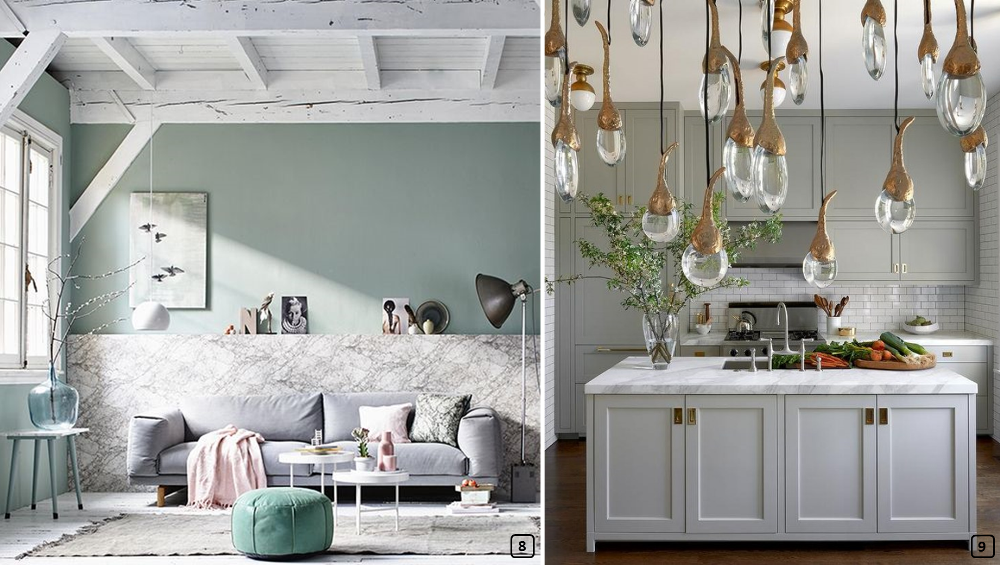 Sage green colour paired with marble and copper