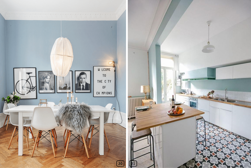 Two kitchens in a scandinavian style with blue sky walls