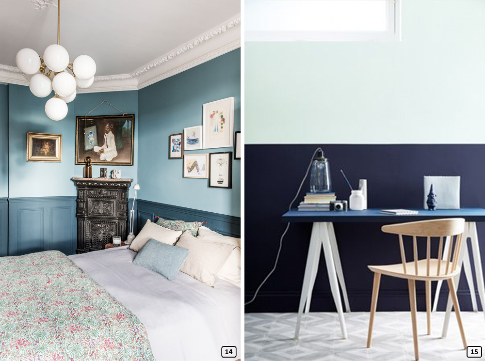 Pigeon blue and navy blue with sky blue wall in a bedroom and an office