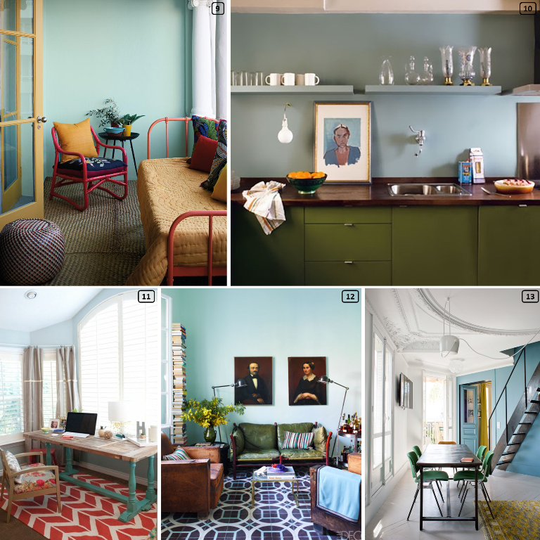 Sky blue walls in interiors with yellow, green and red furniture