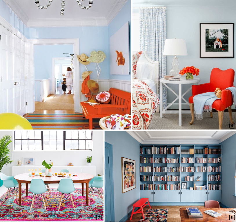 Living rooms with sky blue walls and orange and pink furniture
