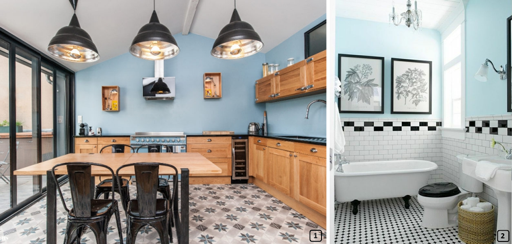 Kitchen and bathroom with sky blue colours