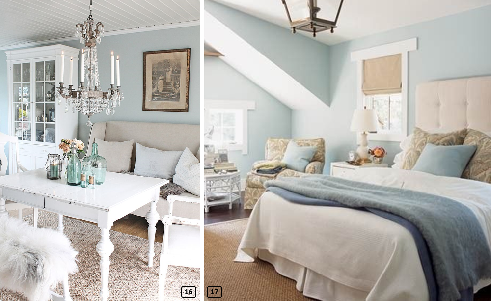 Sky blue walls with a beige, taupe and grey decor