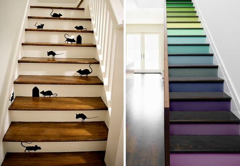 Personalized stairs with paint and adhesives