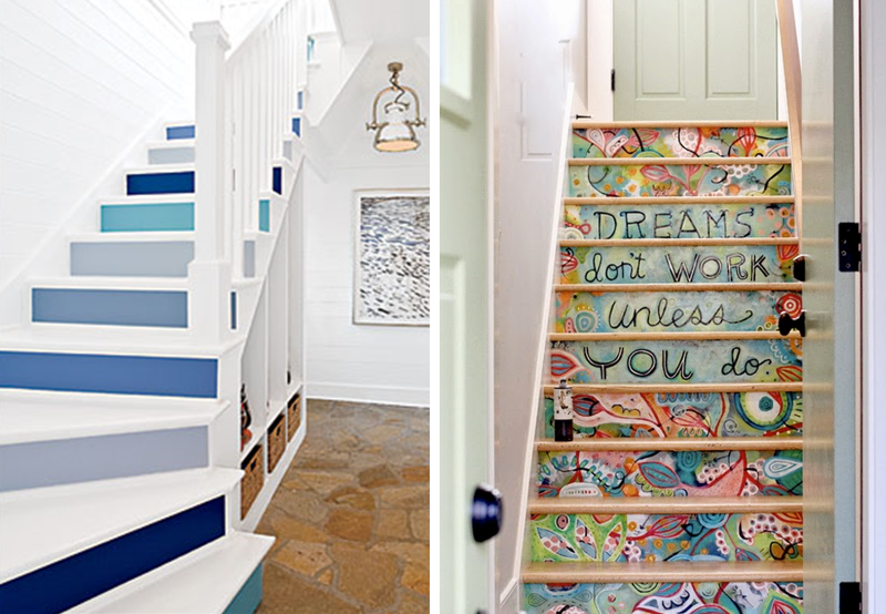 20 amazing makeover ideas for the stairs bnbstaging le blog - Peinture pour escalier en bois castorama ...