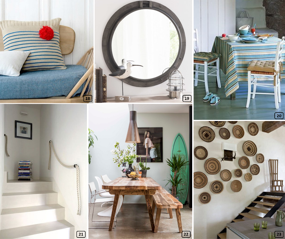 Mirrors, cushions, rope, surfboard... inside homes
