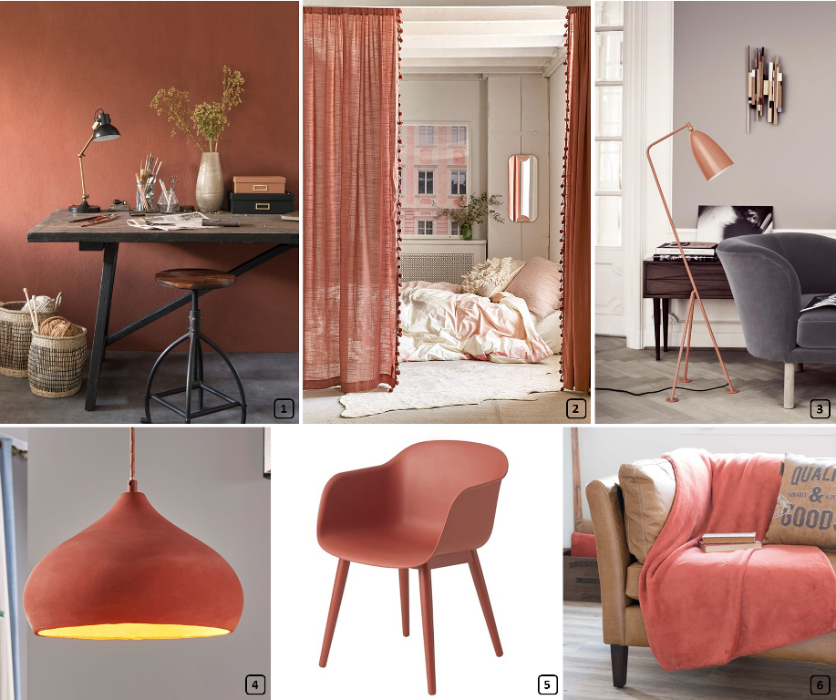 Terracotta color on walls and different furniture