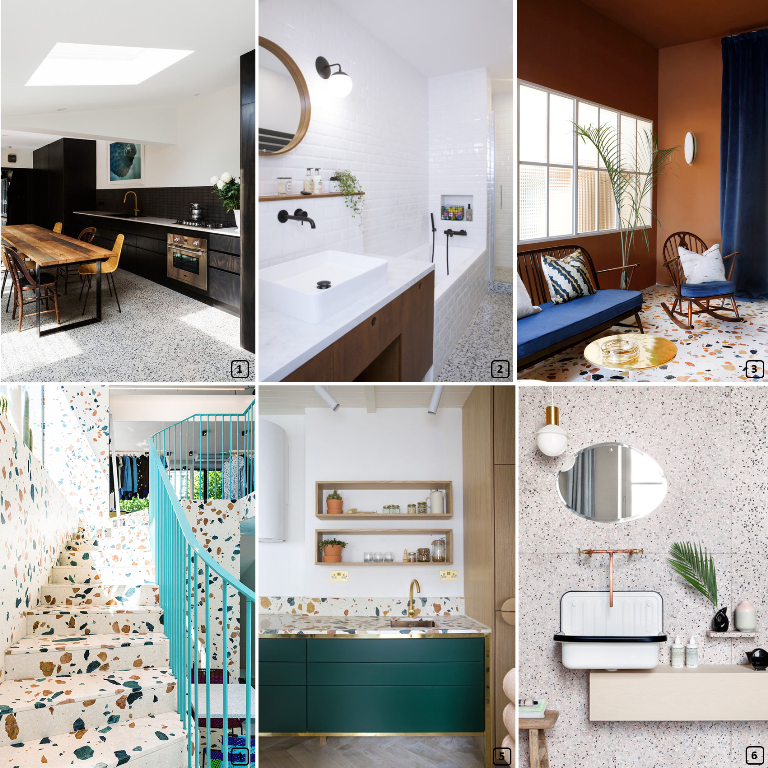 Terrazzo material on the floor and as credenza