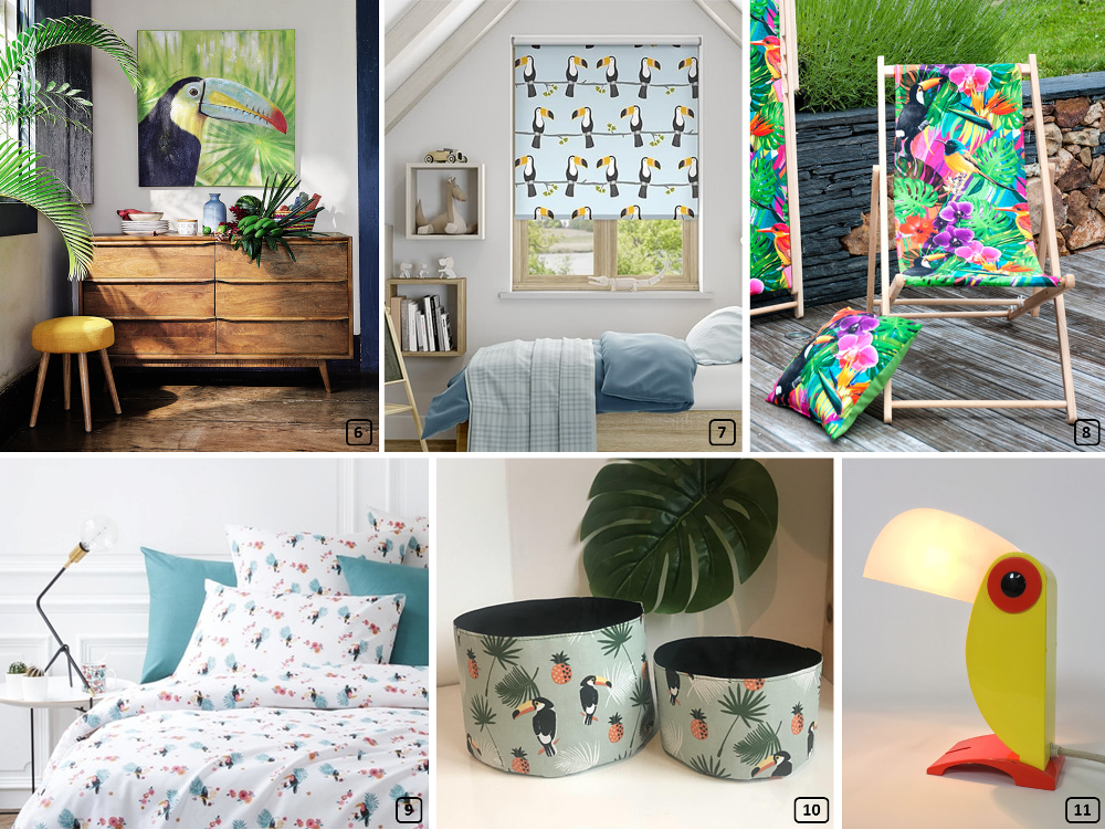Toucan print on textiles and accessories