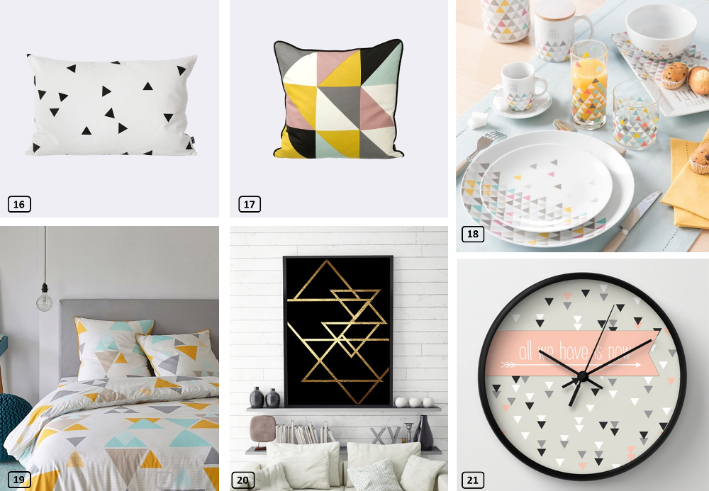 Triangle decor on cushions, dishes, bed linen and accessories
