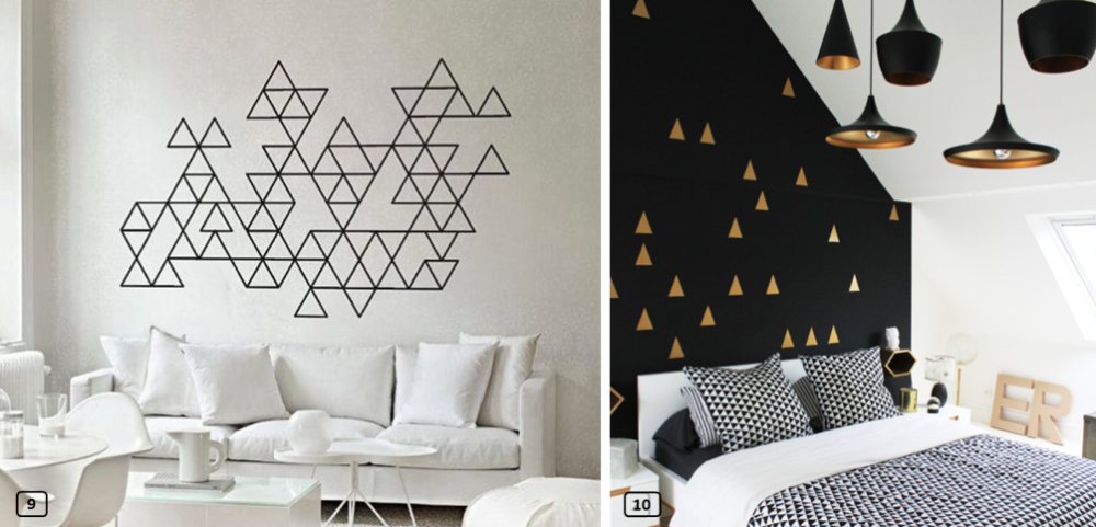 Interior decor with masking tape triangles