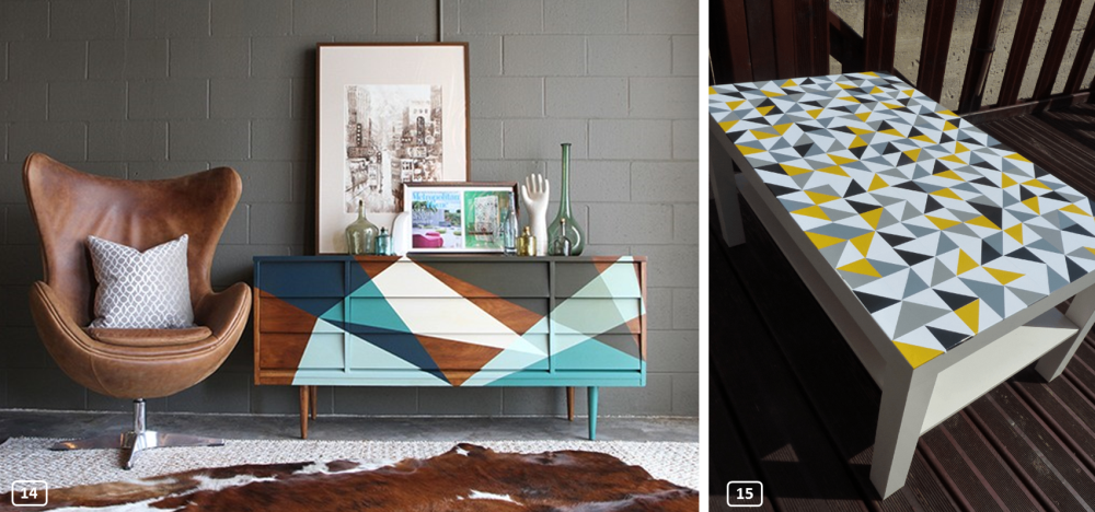 Customized furniture with paint and sticker triangles