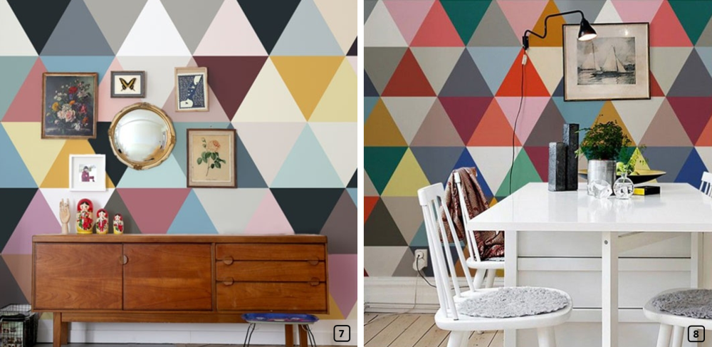 Interior decor with wallpaper triangles
