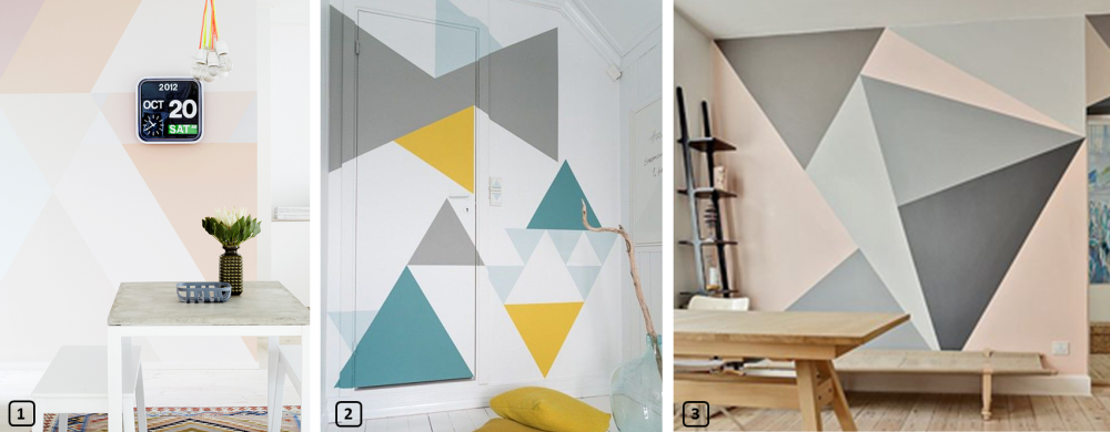 Interior decor with painted triangles on the walls 1