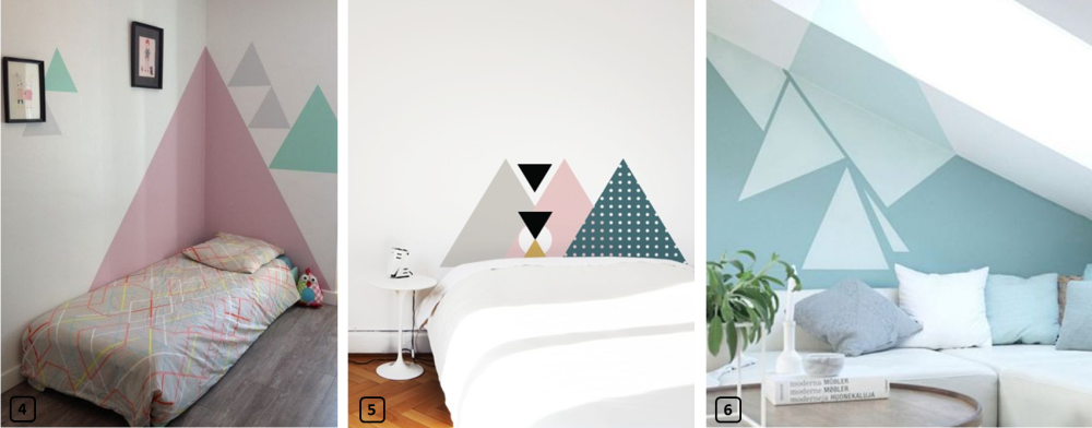 Interior decor with painted triangles on the walls 2