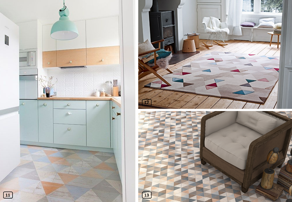 Interior decor with triangles on the floor, carpet, paint, tiles