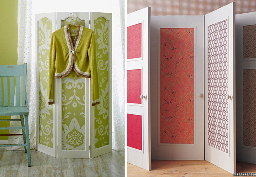Doors makeovers with wallpaper leftovers