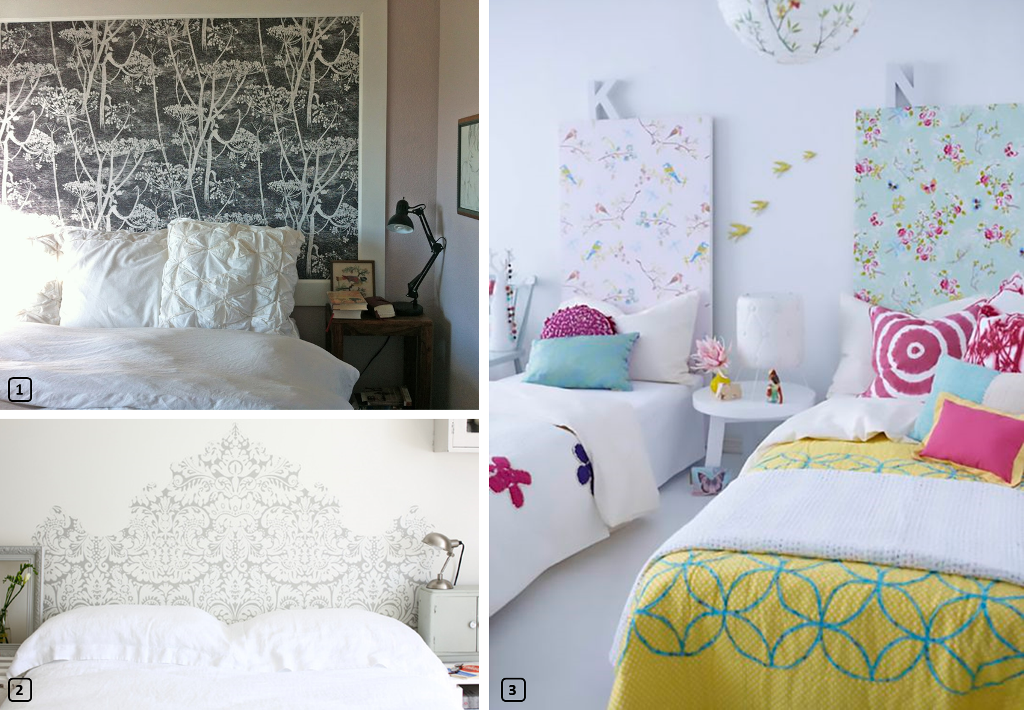 Headboards makeovers with wallpaper leftovers