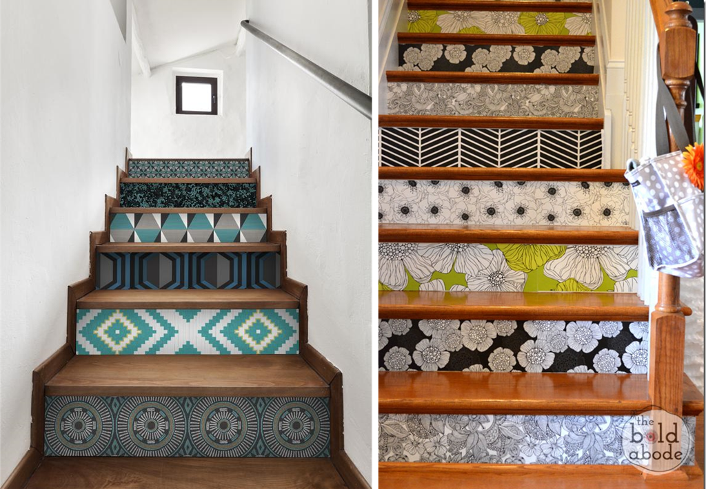 Staircase makeovers with wallpaper leftovers