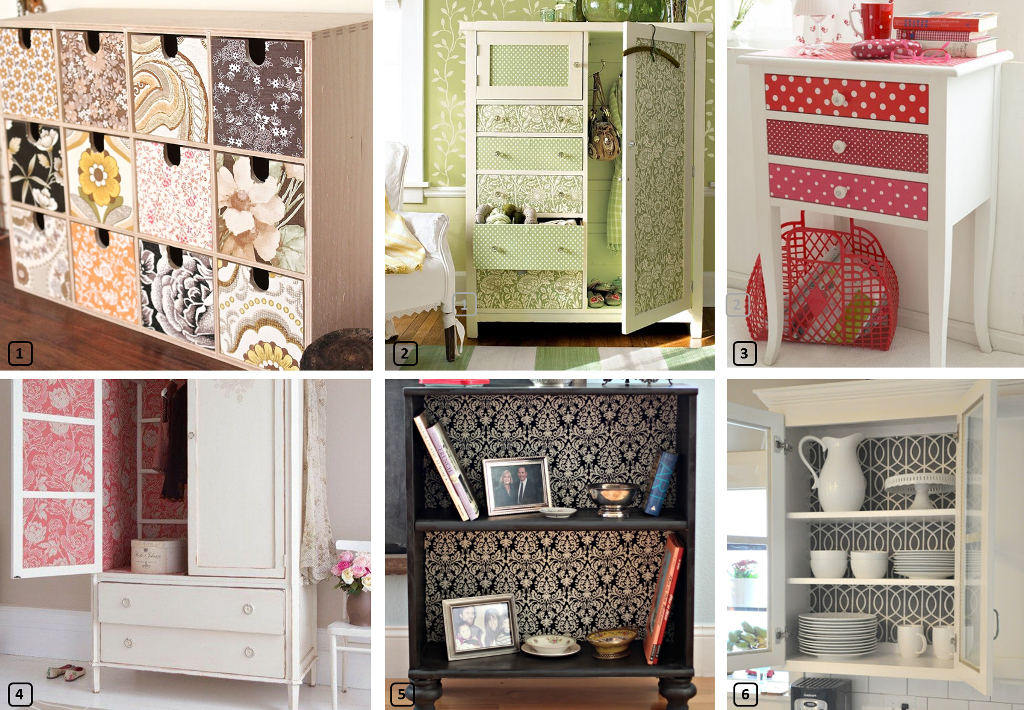 Furniture makeovers with wallpaper leftovers