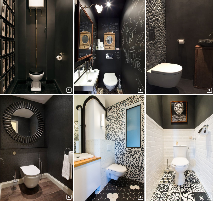 6 restrooms with different materials in black colour