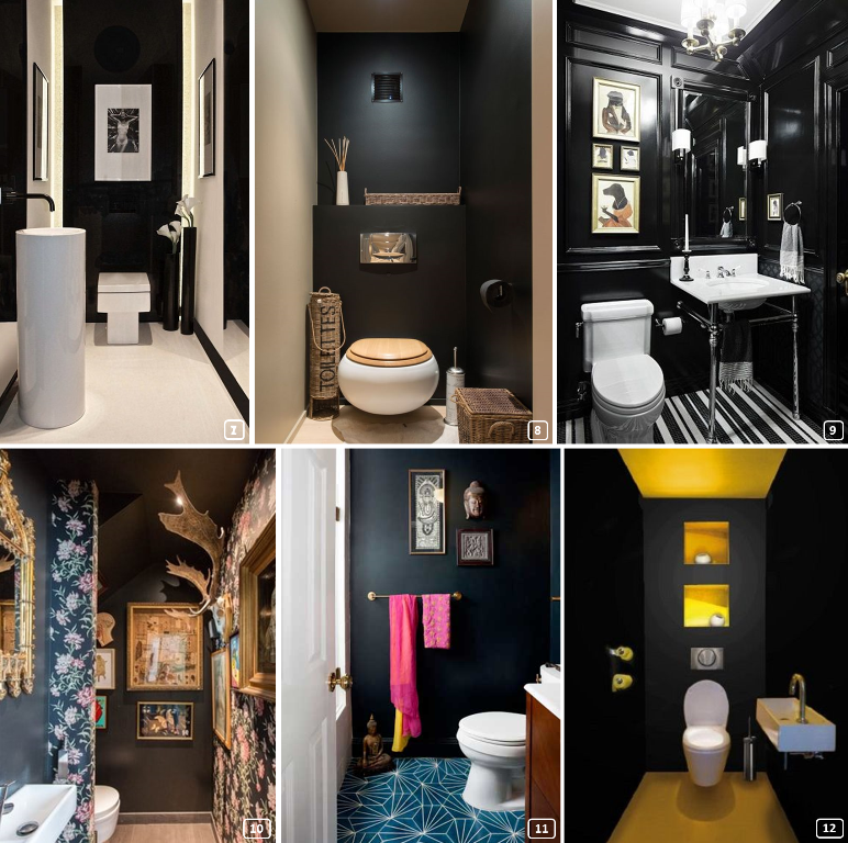 6 restrooms with different styles in black
