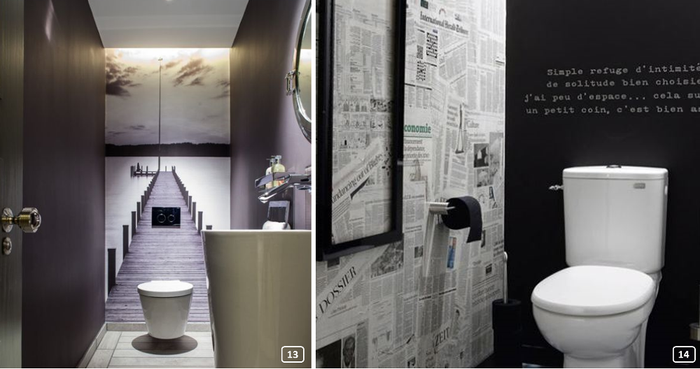 2 elegant and original restrooms in black