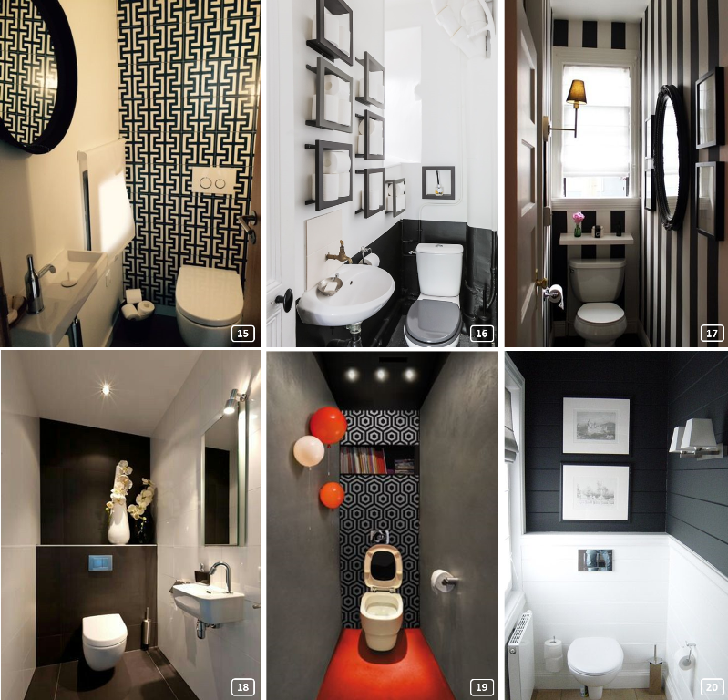 6 elegant restrooms with black colour