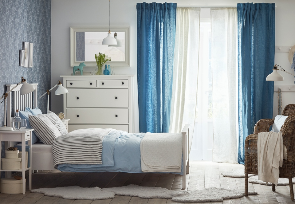 Bedroom with blue and white decor