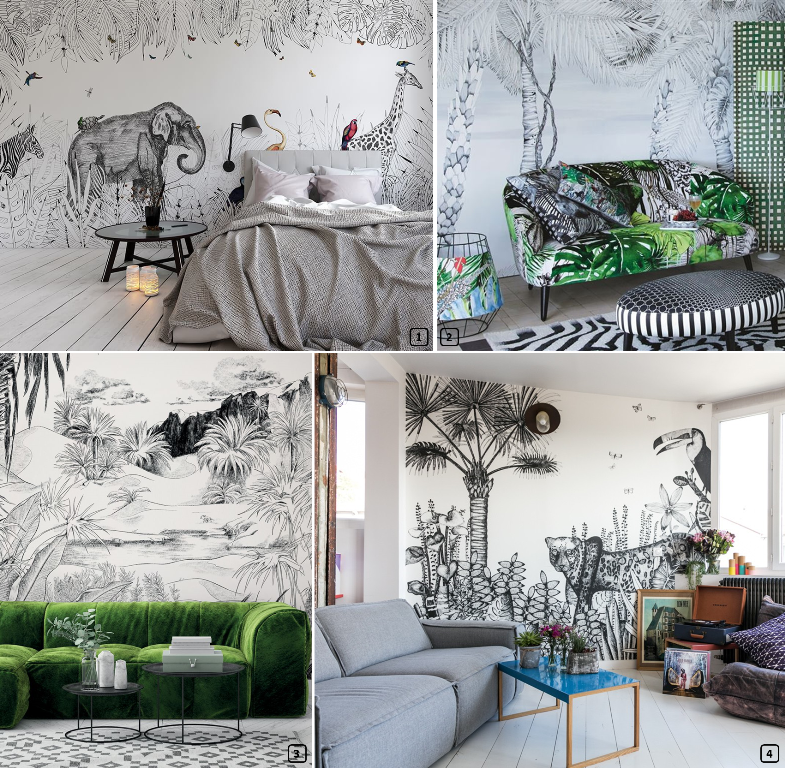 Wallpaper with exotic prints in the living room and bedroom