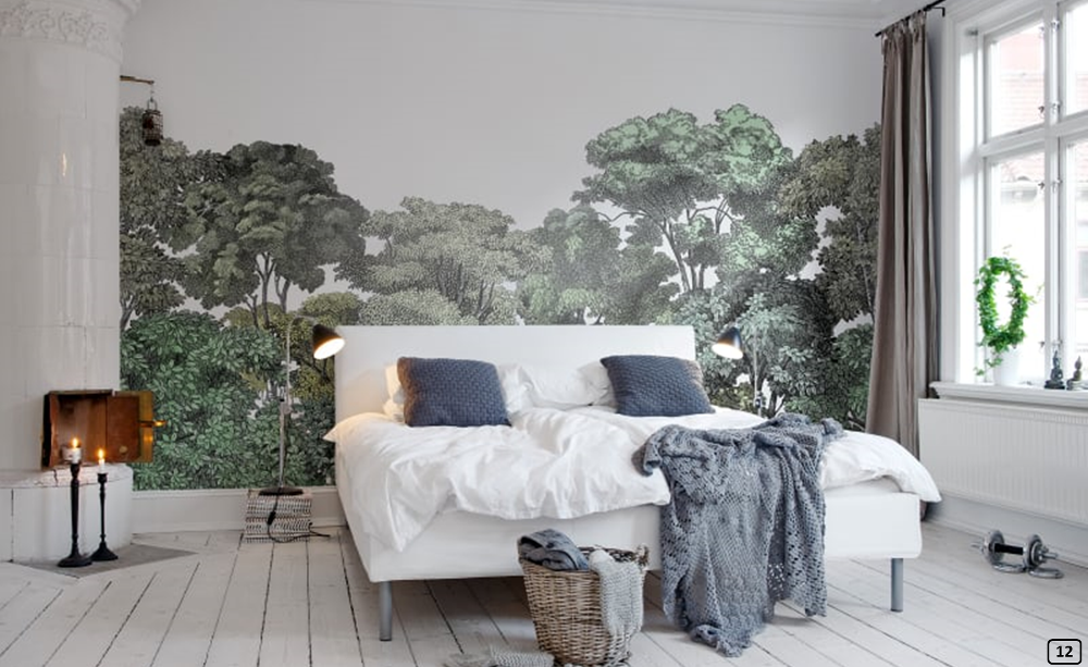 Forest print wallpaper in the bedroom, Rebel Walls
