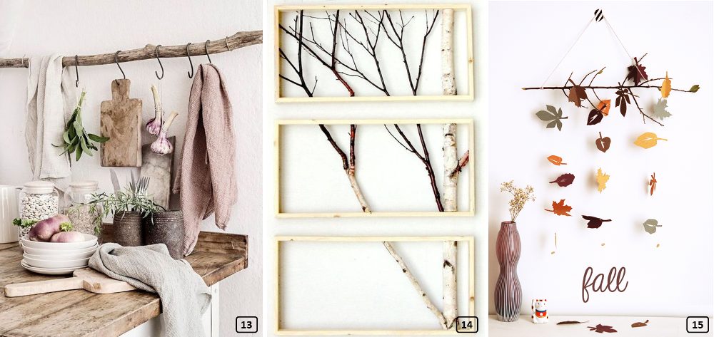 DIY decor with wooden branches