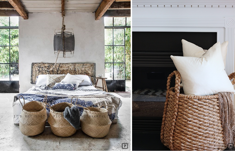 Woven baskets in the bedroom