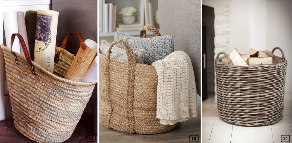 Woven baskets used for storage