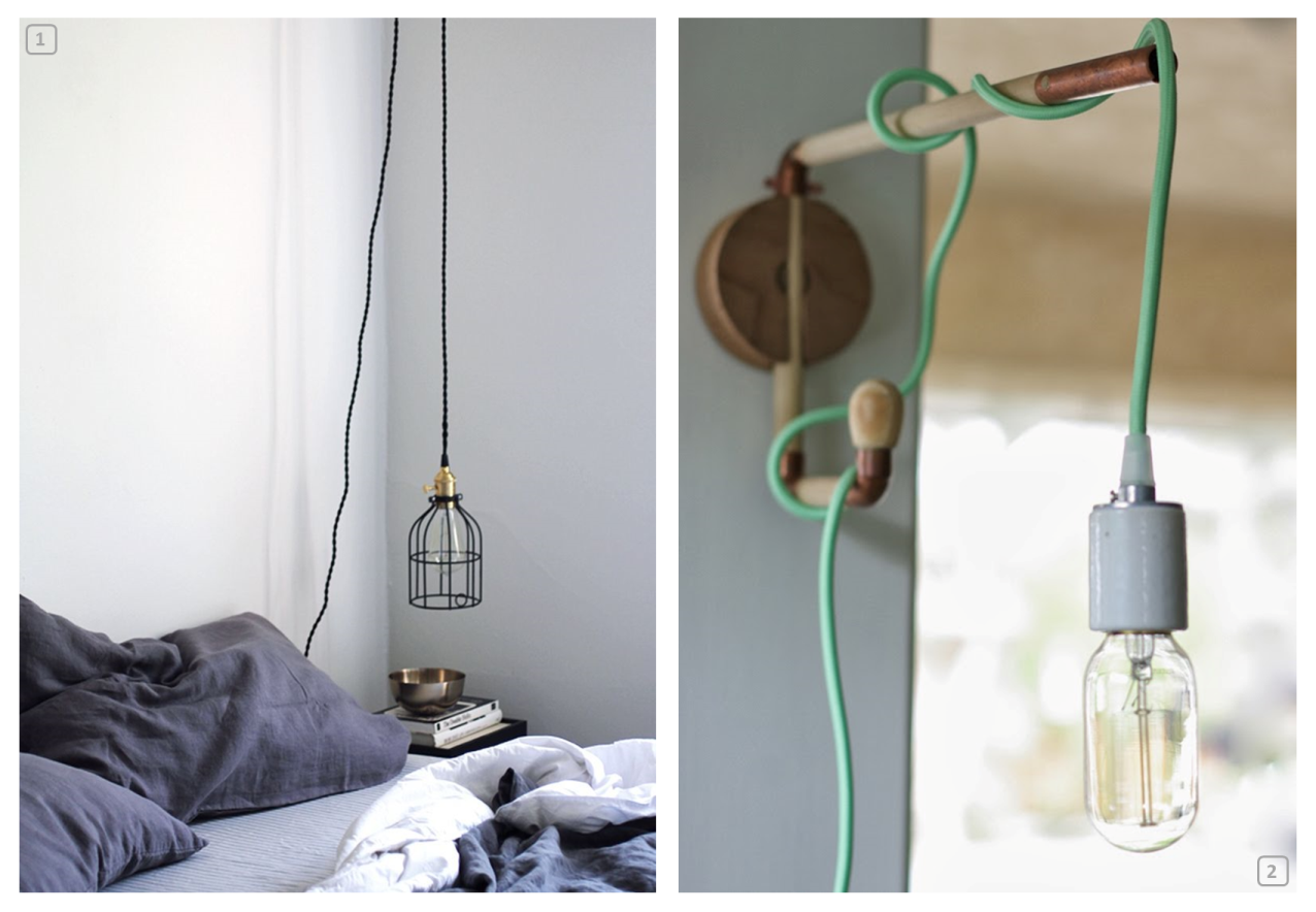 Two light cord lamps as bedside lamps