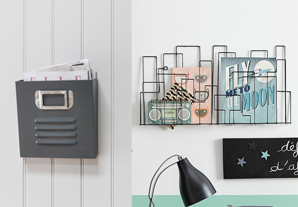 stylish metal wall mount magazine racks bnbstaging le blog. Black Bedroom Furniture Sets. Home Design Ideas