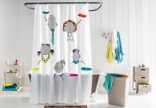 Funny shower curtain in a bathrrom