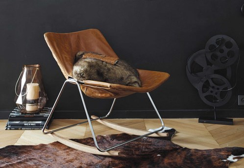 Rocking chair in brown leather
