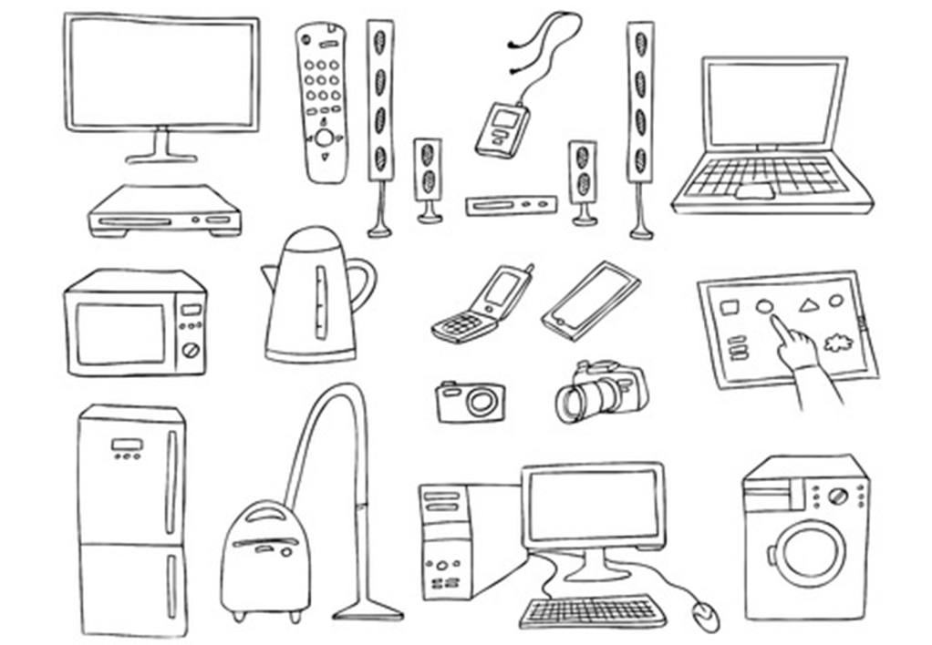 Drawings of all the appliances in a home