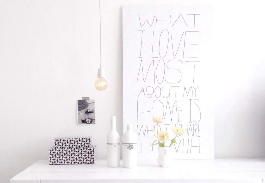 Statement poster on a white sideboard