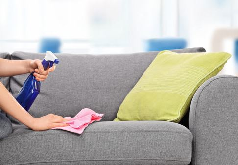 Woman cleaning a sofa