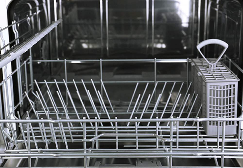 Inside a dishwasher