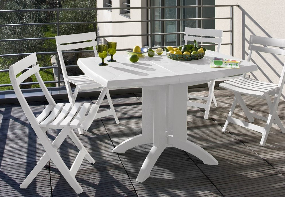White plastic garden furniture