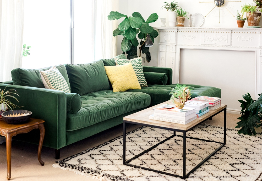 Green velvet sofa from The House That Lars Built