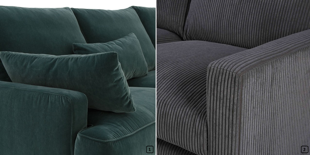 Flat and ribbed velvet on sofas