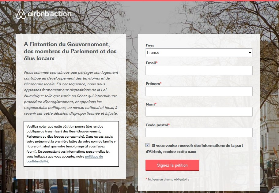 Online airbnb petition airbnb in France against the digital law amendment